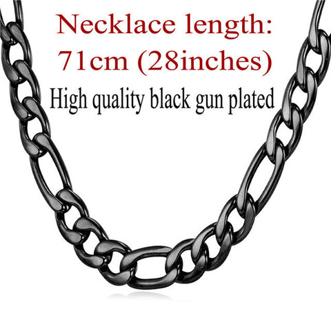 Image of Gold Color Necklace Chain Men Jewelry Father Gift Wholesale 5 Sizes 9MM New Trendy Long Link Chain Necklace N550