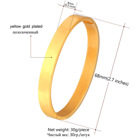 Image of Stainless Steel Bangles For Women Men Fashion Jewelry Wholesale Round Shape Gold Color Bracelets Bangles H757
