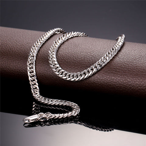 Image of Brand Classic Jewelry Gold Color Venitien Chain For Men Party Gift Trendy 6mm Width choker/Long Necklace Hip Hop Style N389