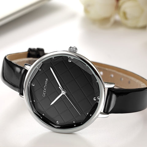 Image of Fashion Quartz Watches Women Diamonds Wrist Watch Leather Top Luxury Brand Ladies Dress Clock Female New relogio