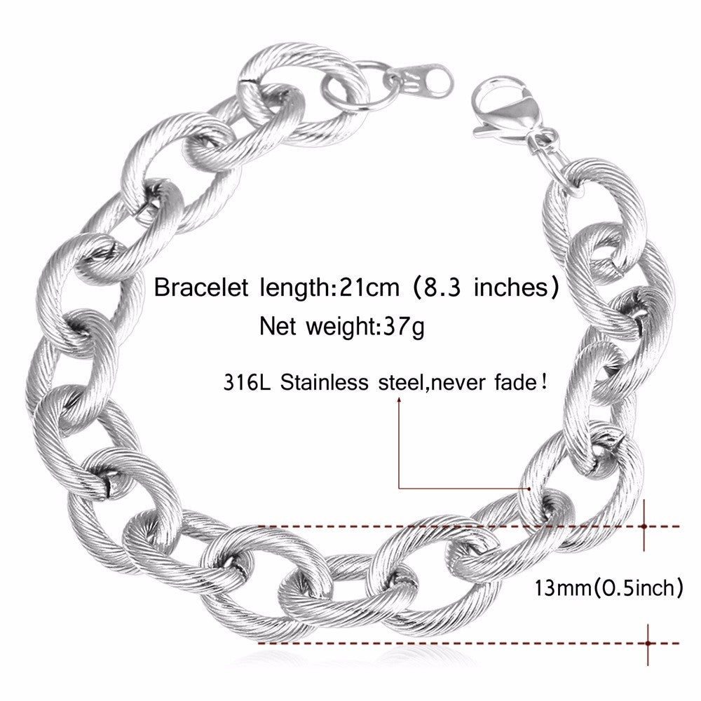 Big Cable Chian Bracelet Steampunk Men Jewelry Wholesale Stainless Steel Gold Color 21cm  Link Chain Mens Bracelets H877