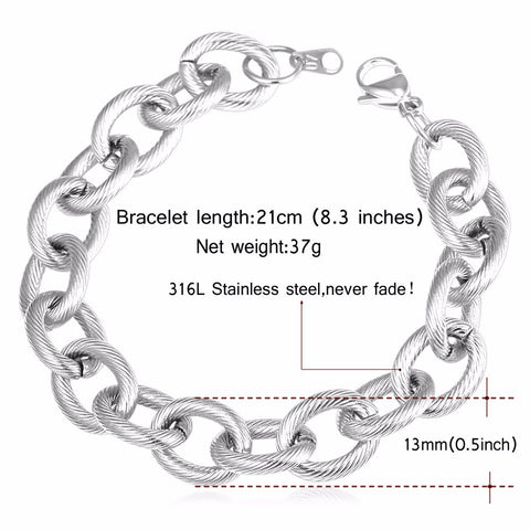Image of Big Cable Chian Bracelet Steampunk Men Jewelry Wholesale Stainless Steel Gold Color 21cm  Link Chain Mens Bracelets H877