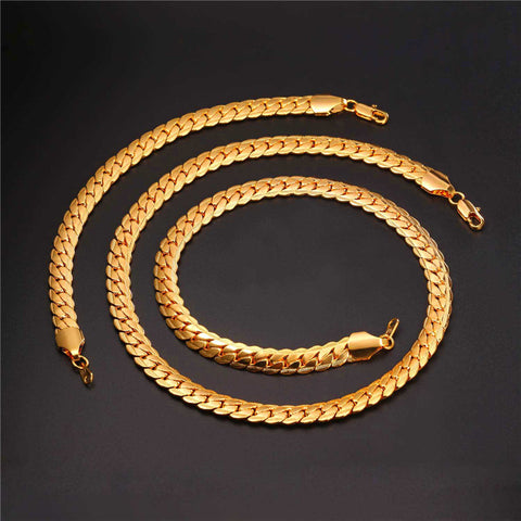 Brand Gold Color Chain Necklace And Bracelet Set Wholesale 9mm Chunky Big Long/Choker Men Jewelry Set 2017 New Fashion S1007