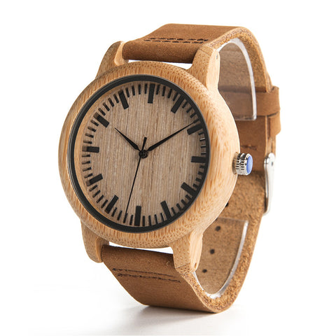 Image of Men Design Real Leather Strap Analog Bamboo Wood Watch