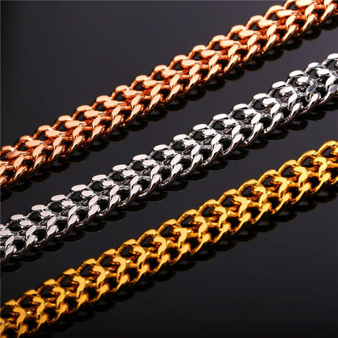 Image of Fashion Hiphop Jewelry Gold Color Chain For Men Collier Party Gift Trendy 6 MM Wide Mesh Link Chain Necklace Wholesale N429