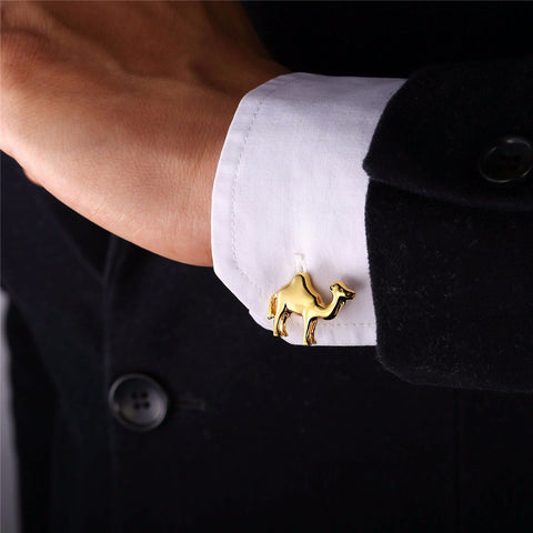 Image of New Animal Cufflinks For Men Jewelry Trendy BF Gift Gold Color Men Suit Camel Cuff Buttons With Box C003