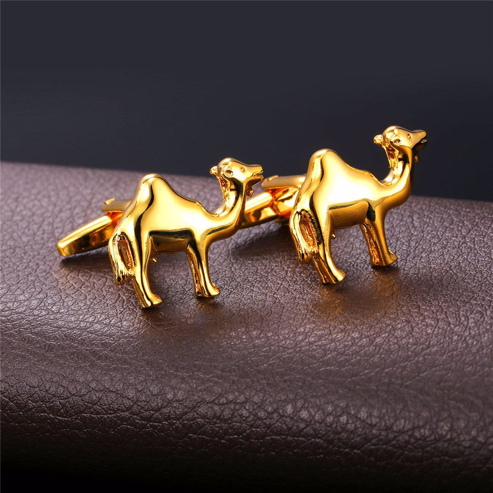 New Animal Cufflinks For Men Jewelry Trendy BF Gift Gold Color Men Suit Camel Cuff Buttons With Box C003