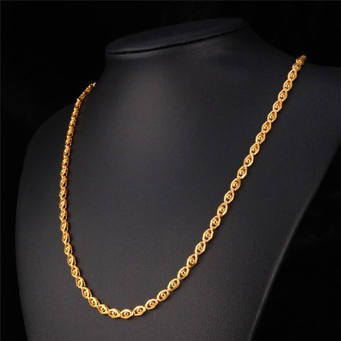Gold Color Jewelry Necklace Chain Wholesale Trendy 55 CM Beads Necklace Women /Men Jewelry N391