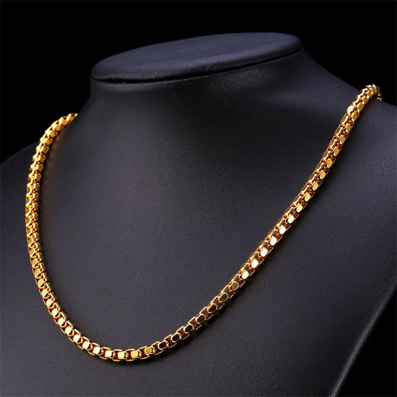 Gold Color Chain For Men Jewelry Stainless Steel 55cm Box Link Chain Necklace Hiphop Style N421