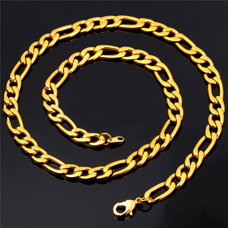 Gold Color Necklace Chain Men Jewelry Father Gift Wholesale 5 Sizes 9MM New Trendy Long Link Chain Necklace N550