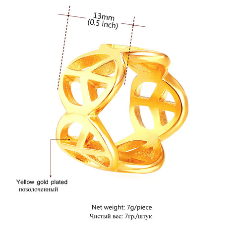 Image of New Stainless Steel Fashion Ring For Men Peace Symbol Trendy Gold Color Inverted Cross Men Jewelry Round Band Rings