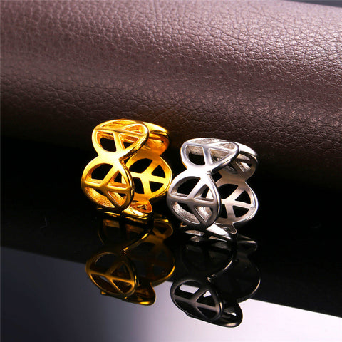 New Stainless Steel Fashion Ring For Men Peace Symbol Trendy Gold Color Inverted Cross Men Jewelry Round Band Rings