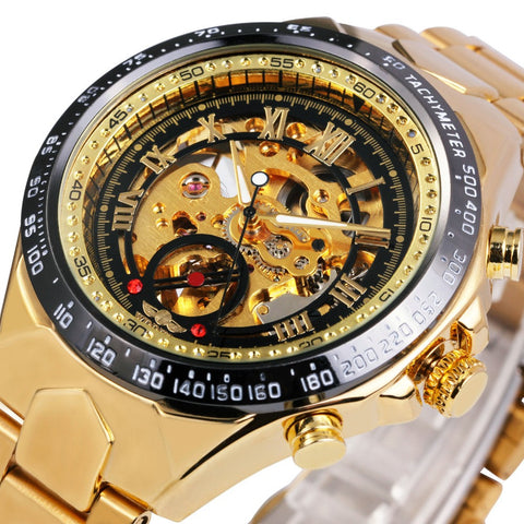 Men Gold Watches Automatic Mechanical Watch Male Skeleton Wristwatch Stainless Steel Band Luxury Brand Sports Design