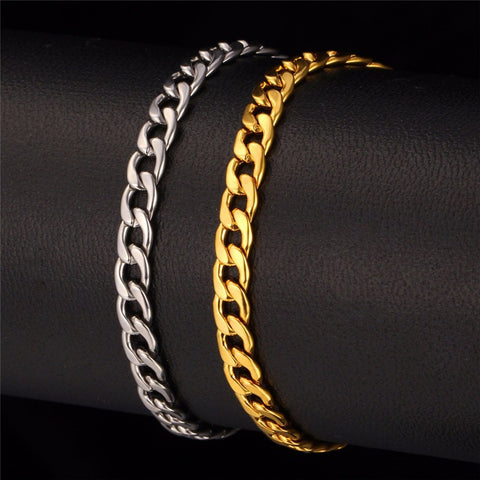 Image of Men Chain Jewelry Set Wholesale Black Gun /Gold Color Cuban Link Chain Necklace Bracelet Jewelry Set S625