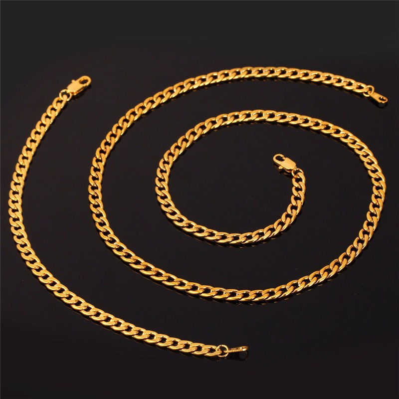 Men Chain Jewelry Set Wholesale Black Gun /Gold Color Cuban Link Chain Necklace Bracelet Jewelry Set S625
