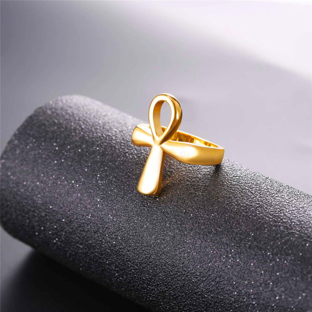Ankh Ring Egyptian Cross Key of the Nile Gift for Men/Women Classic Africa Egypt Jewelry,Stainless Steel Gold Color R1007