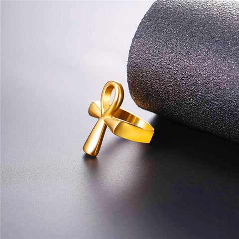 Image of Ankh Ring Egyptian Cross Key of the Nile Gift for Men/Women Classic Africa Egypt Jewelry,Stainless Steel Gold Color R1007