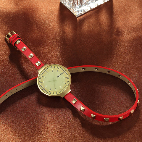 Image of Retro Rivet Leather Bracelet Strap Quartz Watch Women Lady's Dress Wrsitwatch Gift Designer Top Luxury Fashion Brand