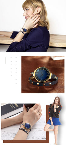 Retro Rivet Leather Bracelet Strap Quartz Watch Women Lady's Dress Wrsitwatch Gift Designer Top Luxury Fashion Brand