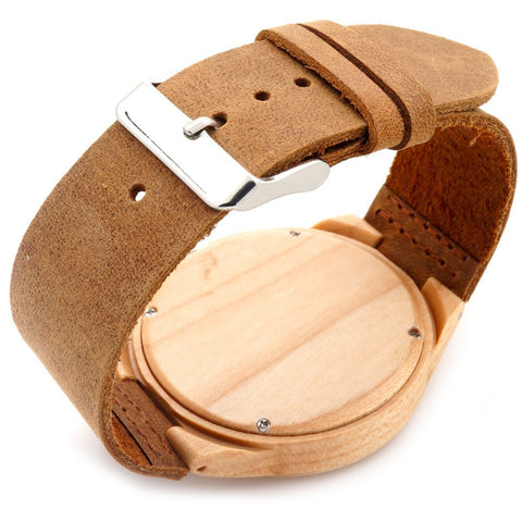Image of Minimalist with Leather Strap Natural Bamboo Wooden Watch
