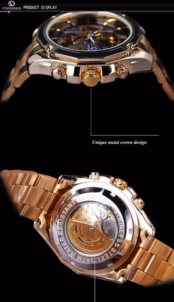 Transparent Stainless Steel Skeleton Luxury Design Watch