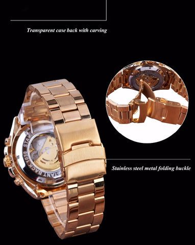 Image of Transparent Stainless Steel Skeleton Luxury Design Watch
