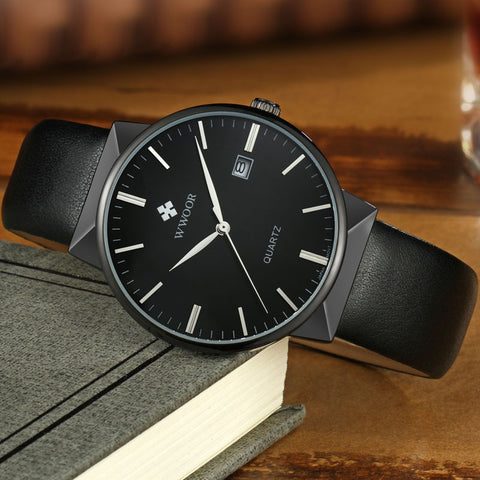 Image of 2017 Brand Luxury Men Leather Waterproof Sports Watches Men's Quartz Casual Wrist Watch Male Black Clock relogio masculino