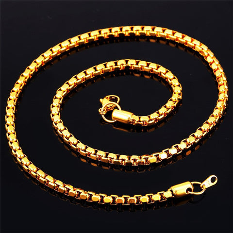 Image of Gold Color Chain For Men Jewelry Stainless Steel 55cm Box Link Chain Necklace Hiphop Style N421