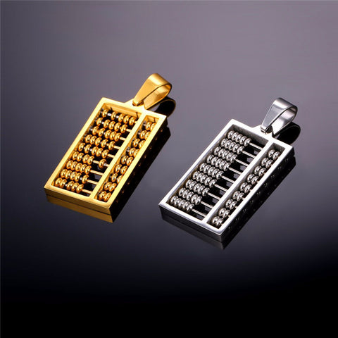 Image of Abacus Necklace Gold Color Stainless Steel Ancient China Counting-frame Necklaces & Pendants For Men/Women Gift Jewelry P762