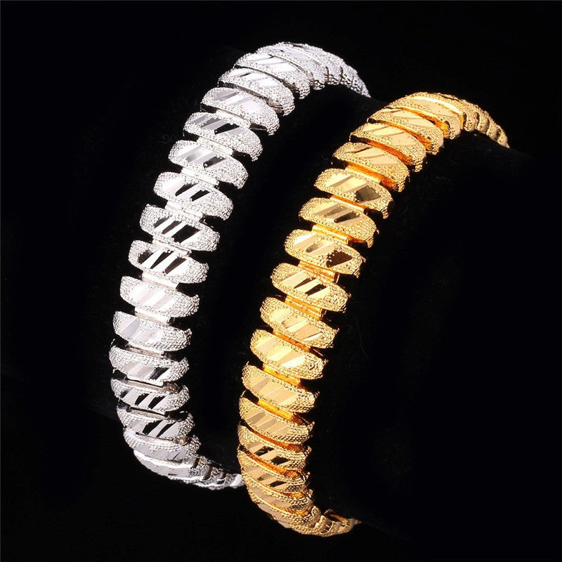 Bracelet Men Jewelry Gift Wholesale Trendy Gold/Silver Color 20 CM 10 MM Wide Link Chain Bracelet  H548