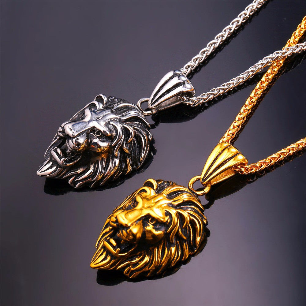 Black Lion Charms Necklace Rock Punk Style Men/Women Retro Jewelry Gold Color Stainless Steel Chain Necklace & Pendant P807