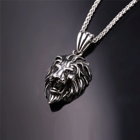 Image of Black Lion Charms Necklace Rock Punk Style Men/Women Retro Jewelry Gold Color Stainless Steel Chain Necklace & Pendant P807
