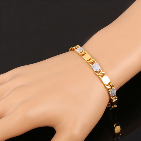 Image of Two Tone Ethiopian Jewelry Set Wholesale Trendy Gold Color Bracelet Necklace Set For Men Jewelry S703