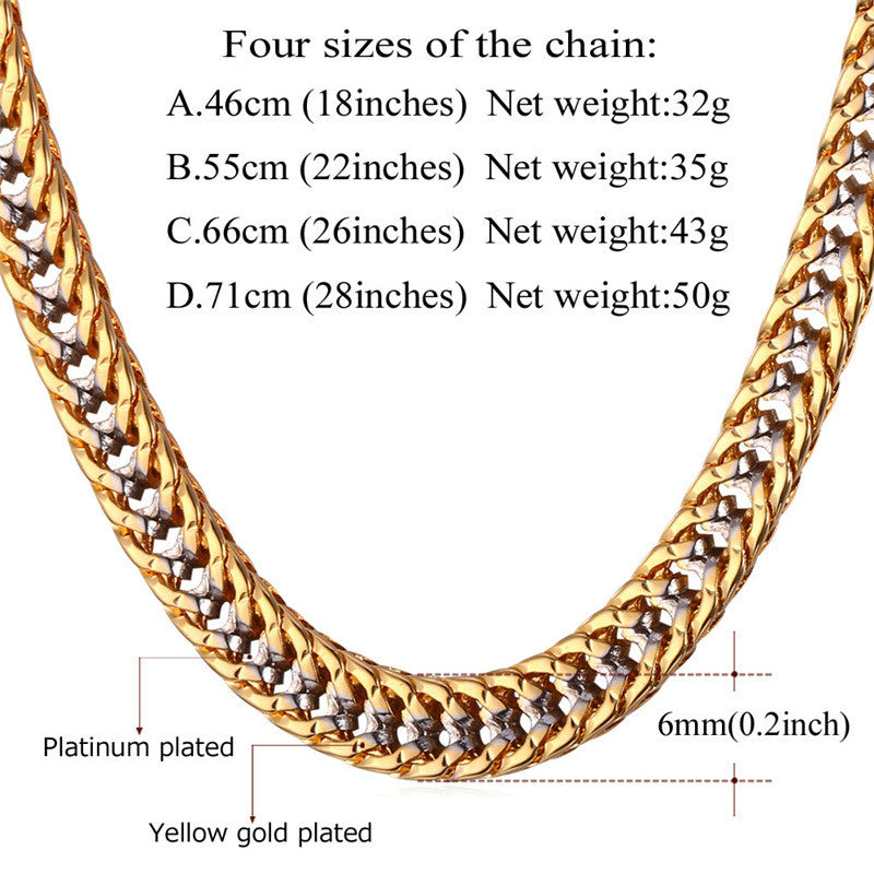 Two Tone Gold Color Chain Necklace Men Collier Rapper Jewelry Fashion Trendy Franco Necklaces N437