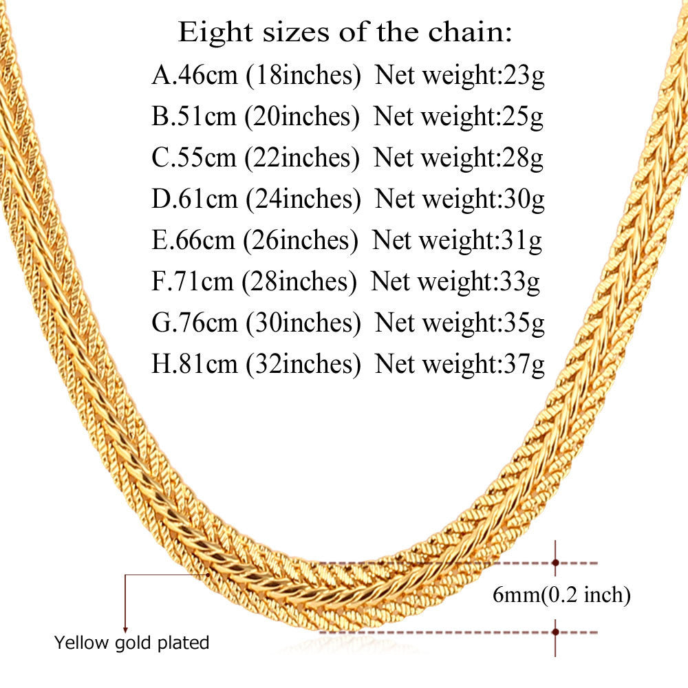 Brand Men Necklace Fashion Rapper Jewelry Rose Gold/Black/Gold Color 6MM Unique Choker/Long Classic Foxtail Chain N363