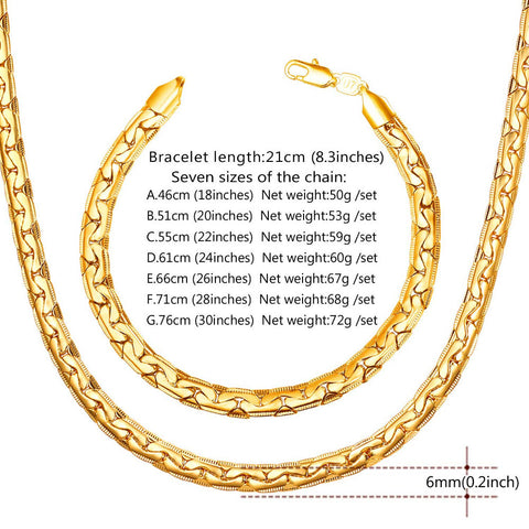 New Snake Chain Bracelet Necklace Set For Men Gift Wholesale Trendy African Dubai Gold Color Jewelry Sets S1014