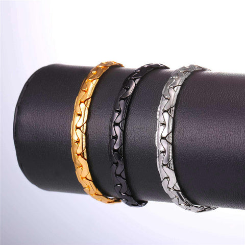 Image of New Snake Chain Bracelet Necklace Set For Men Gift Wholesale Trendy African Dubai Gold Color Jewelry Sets S1014
