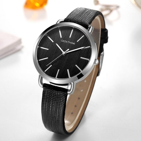 Image of Top Luxury brand Fashion Quartz Watches Women Silver Wristwatch Casual Leather Ladies Dress Clock Female New relogio