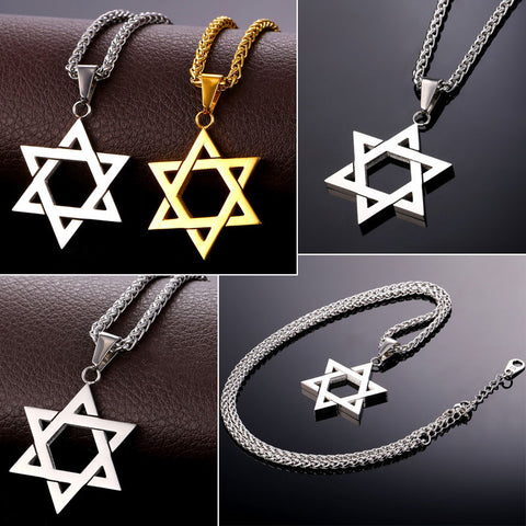 Image of Jewish Magen Star of David Necklace Men/Women Bat Mitzvah Gift Israel Judaica Hebrew Jewelry Hanukkah Pendant Gold Color P723