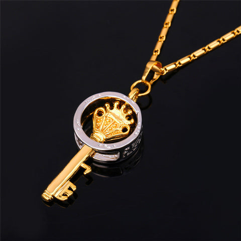 Image of Trendy Key Pendant Necklace Gold Color Fashion Jewelry Party Peace Symbol Pendants Necklaces  P567