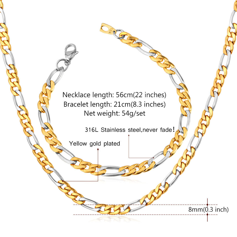 Two Tone Gold Color Jewelry Set Stainless Steel Figaro Chain Bracelet Necklace Set Men Jewelry S637