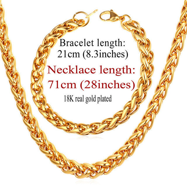 New Wheat Spiga Chain Necklace Set Men Stainless Jewelry Wholesale 9MM Width Gold Color Necklace Bracelet Jewelry Sets S836