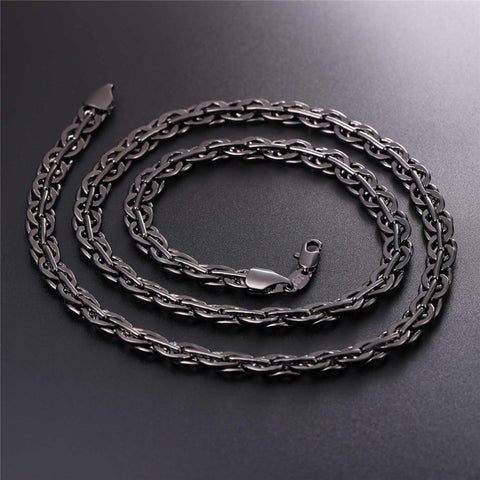 Trendy Silver/Gold/Black Color Rock Woven Chain Bracelet Necklace Jewelry Set For Men Hip Hop Gift Wholesale S1015