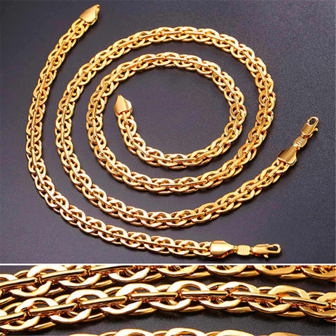 Image of Trendy Silver/Gold/Black Color Rock Woven Chain Bracelet Necklace Jewelry Set For Men Hip Hop Gift Wholesale S1015