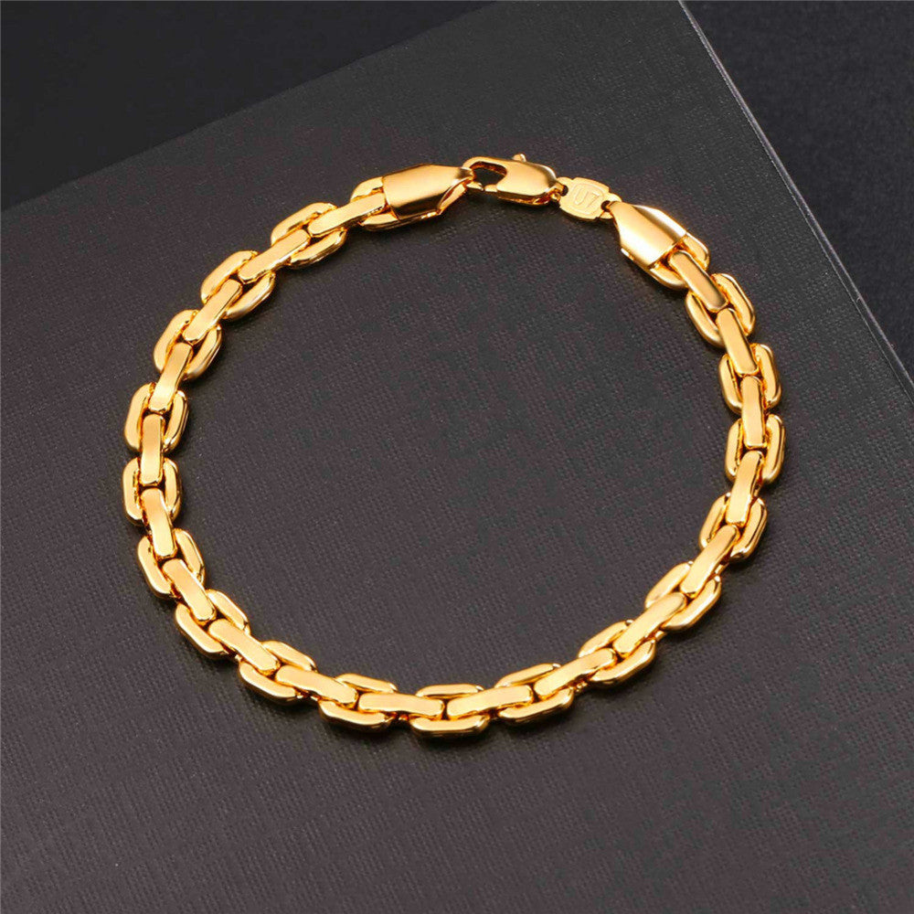 Cable Link Chain Bracelet Necklace Jewelry Set For Men Hip Hop Silver/Gold Color Choker Bracelets Set Wholesale S1016