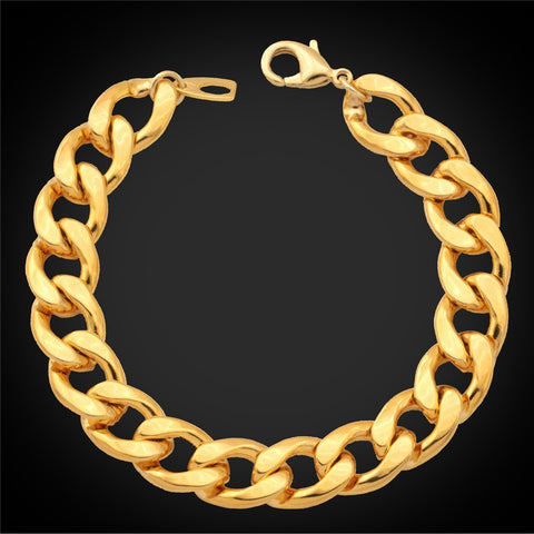 Ethiopian Jewelry Set For Men Gold Color 11MM Wide Cuban Link Chunky Chain Bracelet Necklace Set S759