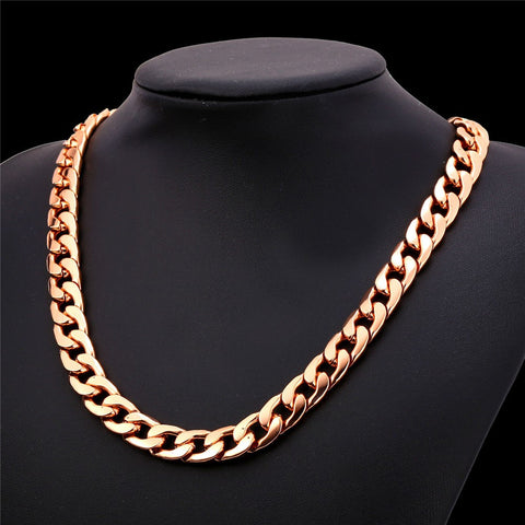 Image of Ethiopian Jewelry Set For Men Gold Color 11MM Wide Cuban Link Chunky Chain Bracelet Necklace Set S759