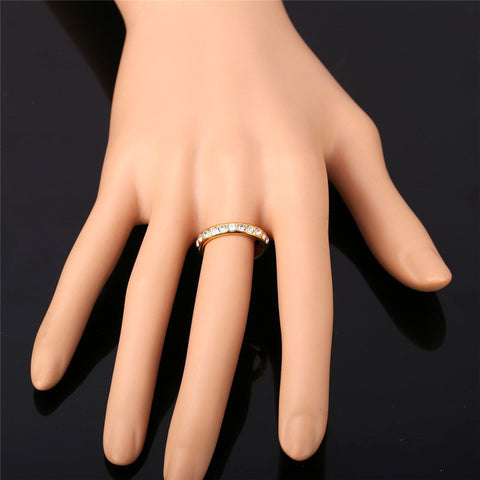 Crystal Wedding Rings For Women Jewelry Wholesale Gold Color Trendy Party Gift Engagement Ring Wedding Bands R369