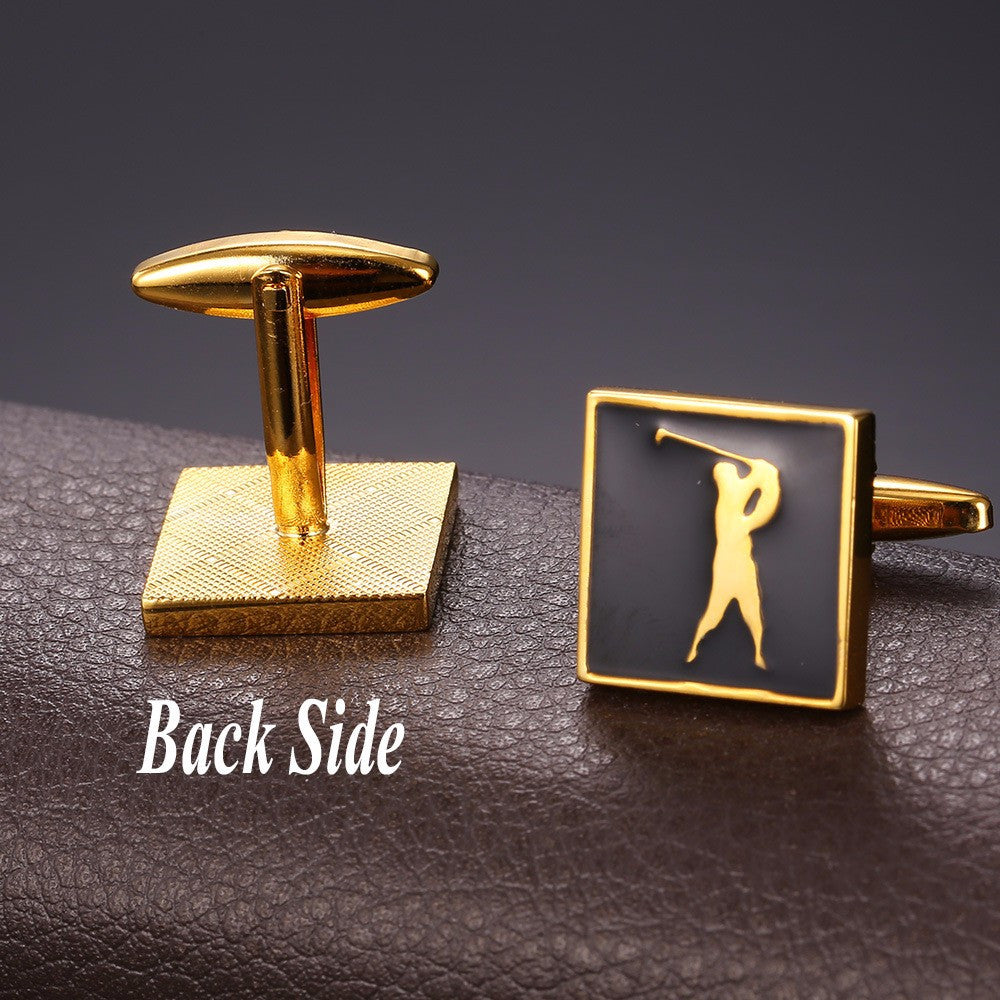 New Sporty Cufflinks For Mens Enamel Fashion Jewelry Gold Color Cuff Links Golf Jewelry With Free Box C012
