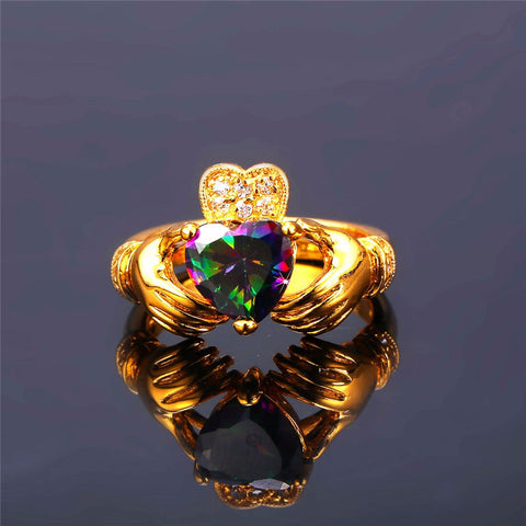 Image of Heart Jewelry Claddagh Ring For Love Luxury Gold Color Wedding Bands Rings For Women R428